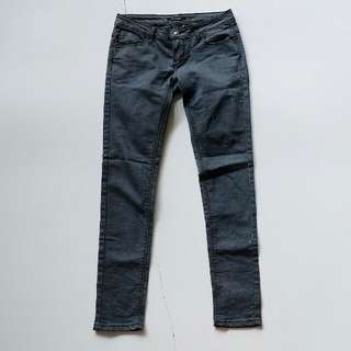 Washed grey skinny fitted denim jeans