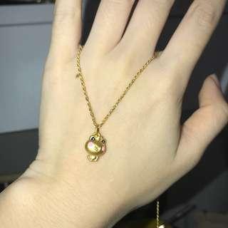 pure gold 可愛小青蛙 硬金999 + 18k黃頸鏈