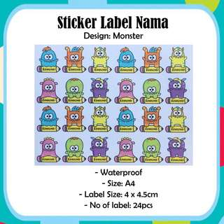 Waterproof A4 Size Name Label Sticker - Monster