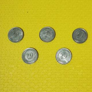 Old Singapore 20cents Coin