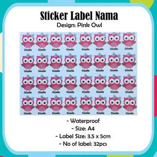 Waterproof A4 Size Custom Name Labrl - Pink Owl