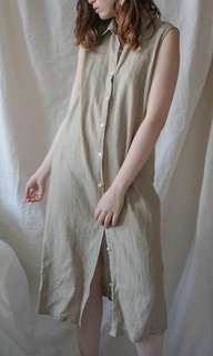 Linen beige button down sleeveless dress