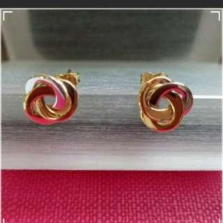 14K585  Tri -Colour Gold Earrings               ❤Love Knot❤ 14K585 三色金意大利耳環