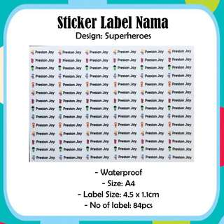 Waterproof A4 Size Name Label Sticker - Tsum Tsum