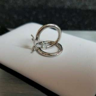 18K750 White Gold 15mm Loop Earrings    💕 NEW & Genuine 💕                             18K750白金耳圈耳環 15mm