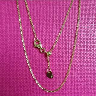 """18K750 Yellow Gold Necklace                        (can adjustable, 18""""inches Is Longest)                18K750黃金頸鍊(能較長較短,最長18""""long)💖Italy Made and New💖"""