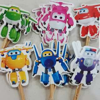 (sold) 24pcs Superwings cake/cupcake toppers /birthday / Props
