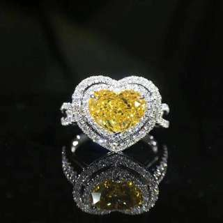 GIA Yellow diamond ring 心形黄钻 戒指