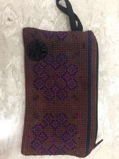 Hand embroidered cross stitch pouch 18cm length x 11cm width
