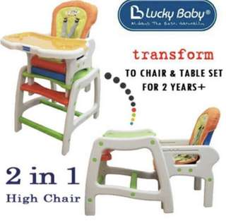 Lucky Baby High Chair multi-use to table and chair with 3 washable chair cover
