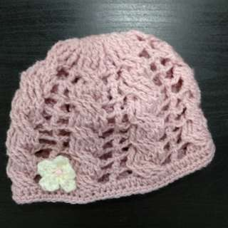 Handmade lovely Pink baby hat
