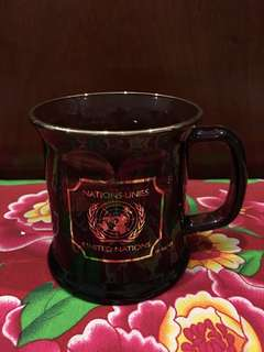 United Nations Glass Mug 22k Gold Enlay by Culver