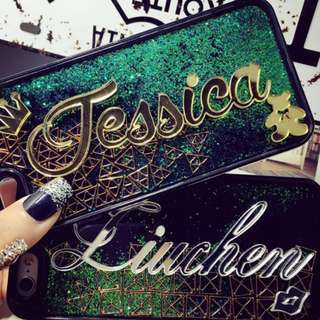 Customise Customize Name Green Glitter Phone Case