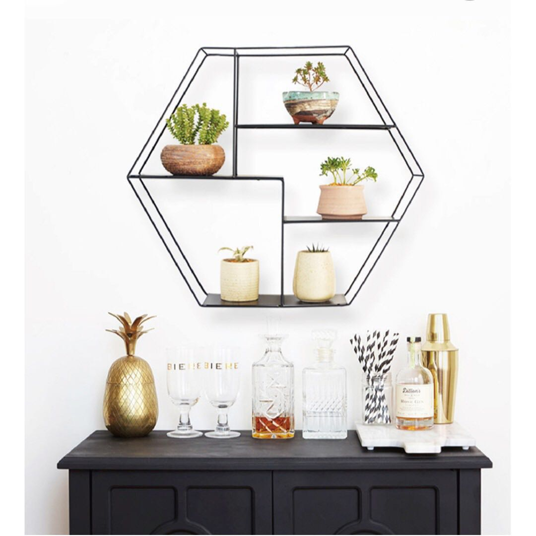 0173/ Nordic Floating hexagon wall shelves, Furniture, Home
