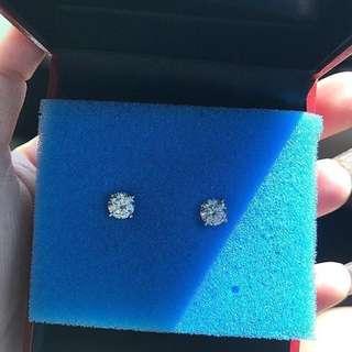 1ct Moissanite Earrings 14k White Gold