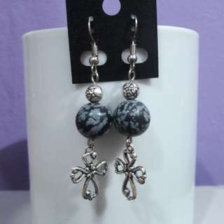 Snowflake Obsidian gemstone and Cross earrings