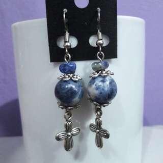 Sodalite gemstone and Cross earrings