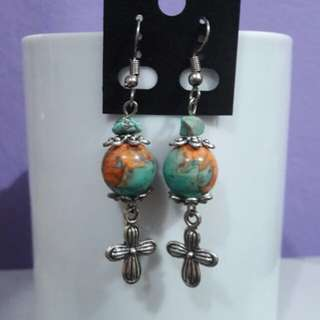 Ocean Jasper (teal-orange) gemstone and Cross earrings