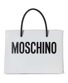 MOSCHINO  White & Black Convertible Leather Tote