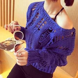 🚚 寶藍針織衫