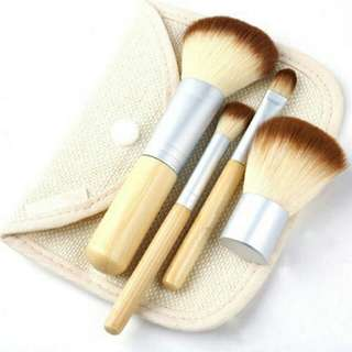 Kuas Make Up Bambu 4 Set - Brown/White
