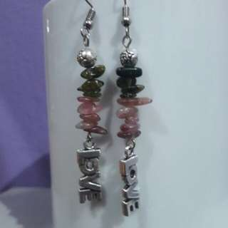 LIMITED ITEM - Watermelon Tourmaline gemstone chips earrings with Love Charm