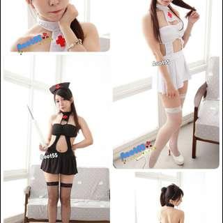 🚚 優-mi屋  黑色/白色 護士露背連身裙裝