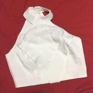 Off-white Halter Crop Top