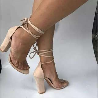 Nude faux suede lace up heels