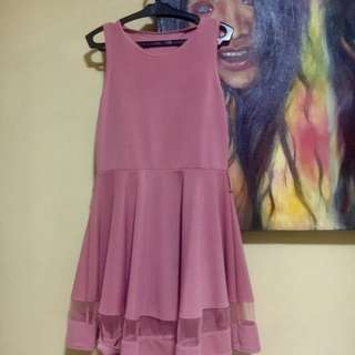 Millenial pink dress with mesh details