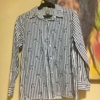 Bayo striped pineapple pattern long-sleeved button down