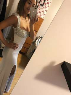 FLATTERING WHITE PROM DRESS - WORN ONCE