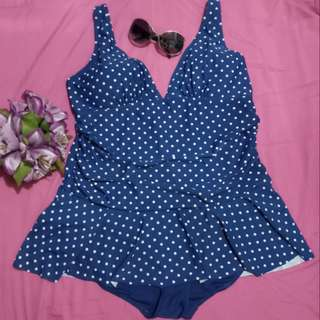 Navy Blue Polka Swimdress with Bikini