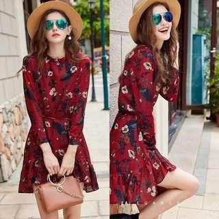 Longsleeve Floral Design Dress
