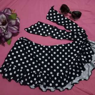 Black & White Polka Swimskirt with bikini