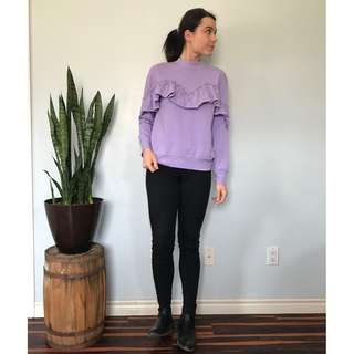 TopShop purple ruffle sweater- Size 6