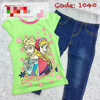 Girl Tshirt with Jeans 1 set
