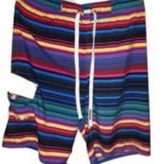 Board sports surf beach swim bright stripes unique and different shorts size med