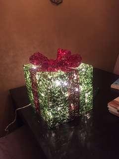 Sparkly light up present decoration