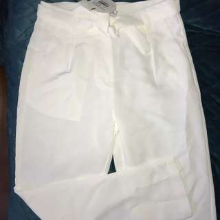 Atoms&here Womens PaperBag Highwaisted White Work Casual Pants