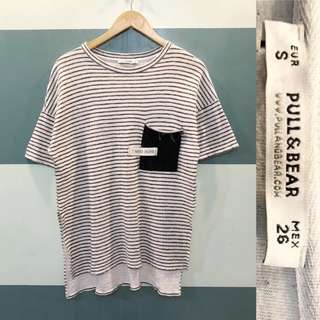 Pull and bear striped pocket detail blouse
