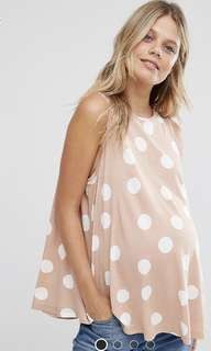 ASOS Maternity Petite Sleeveless Longline Swing TOP in Spot Print UK6