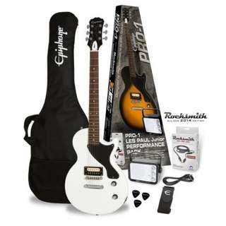 Epiphone PRO-1 Les Paul Jr Electric Guitar Package, Antique White