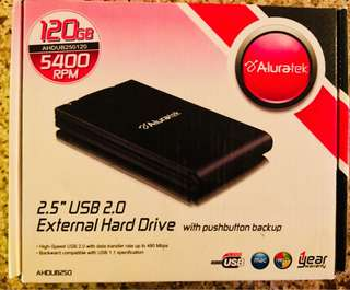 "Aluratek Tornado 120GB USB 2.0 2.5"" External Hard Drive With Push Button Auto Backup AHDUB250120"