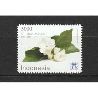 INDONESIA 2017 NATIONAL FLOWERS ASEAN 50TH ANNIV. JOINT ISSUE COMP. SET OF 1 STAMPS IN MINT MNH UNUSED CONDITION