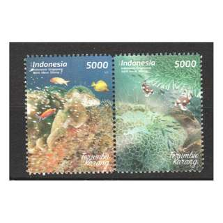 INDONESIA 2017 SINGAPORE JOINT ISSUE CORALS COMP. SET OF 2 STAMPS IN MINT MNH UNUSED CONDITION