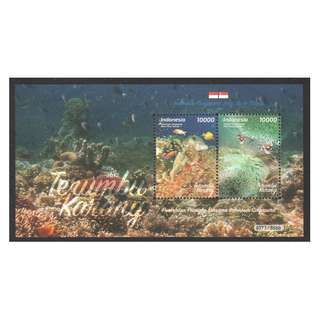 INDONESIA 2017 SINGAPORE JOINT ISSUE CORALS SOUVENIR SHEET OF 2 STAMPS IN MINT MNH UNUSED CONDITION