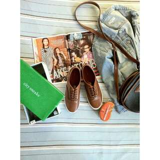 Brown Leather Sneakers (w/ free instant shine sponge cleaner) FREE SF