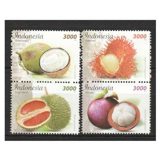 INDONESIA 2017 TROPICAL FRUITS (COCONUT, DURIAN,  RAMBUTAN & MANGOSTEEN) COMP. SET OF 4 STAMPS IN MINT MNH UNUSED CONDITION