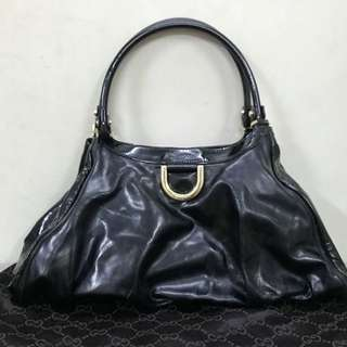 Authentic Gucci Black Patent Leathear D Ring Hobo Bag